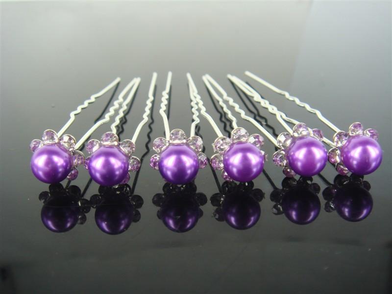 20PCS Women Hair Pins Bridal Wedding Crystal Faux Pearl Purple Color Hair Stick Hair Accessory(China (Mainland))