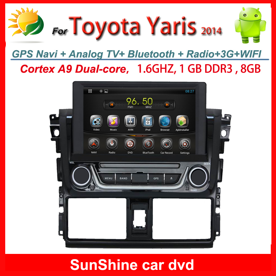 in dash android 4.4 car audio for Toyota Yaris dvd player with gps navigation Radio touch screen car Multimedia player Free MAP(China (Mainland))