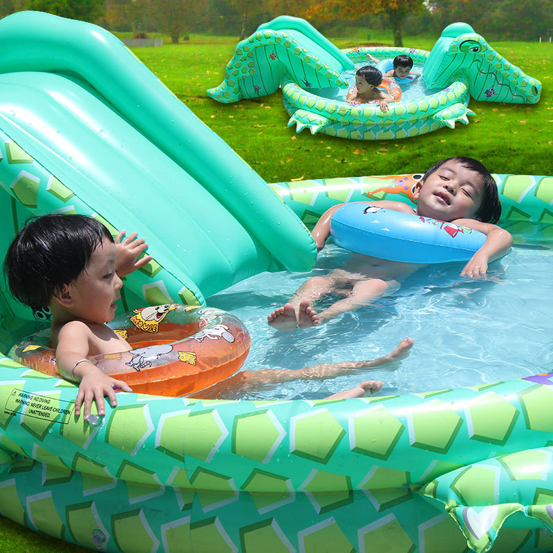 New Multifunctional Children Inflatable Swimming Pool Big Kids Inflatable Crocodile With Dual