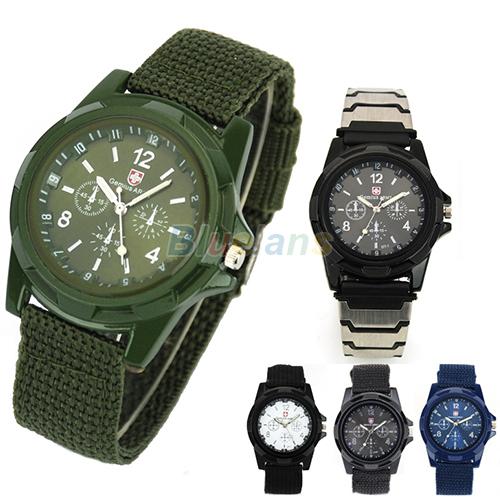 New Solider Military Army Men s Sport Style Canvas Belt Luminous Quartz Wrist Watch 4 Colors