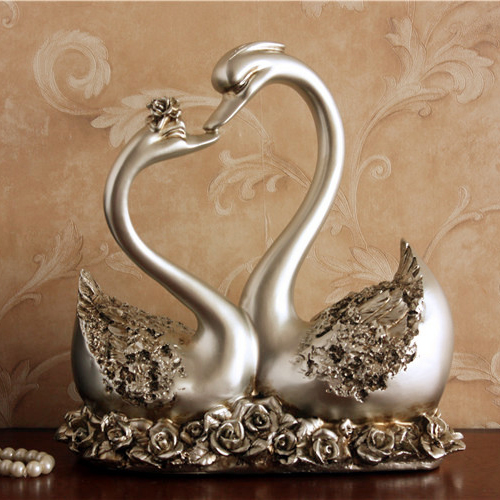 European Style Fashion Home Decoration Resin Kissing Swans Statue Figure Wedding Birthday Gift New Box H=28CM(China (Mainland))