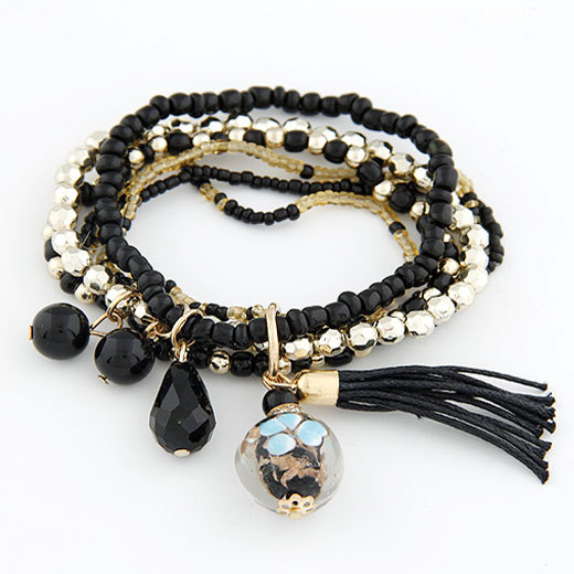Bohemian Multi Layers Fashion Beads Bracelets Bangles for Women Tassel Balls Men Brazaletes Pulseras Mujer Bijoux