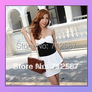 fitted low-cut leopard sexy ClubWear Mini Dress chest wrapped White 1pcs 2 colors ~free shipping#5105
