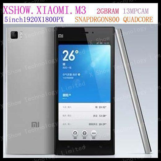 brand new Original Xiaomi M3 Mi3 WCDMA Qualcomm 8274AB Quad Core Mobile Phone 2GB RAM 5'' 1920*1080px 13mp Camera GPS 3G NFC(China (Mainland))