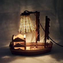 Wooden Handicraft Desk Lamp Sailboat Creative Lamp For Birthday Gift Lampfair Free Shipping  TL2423M(China (Mainland))