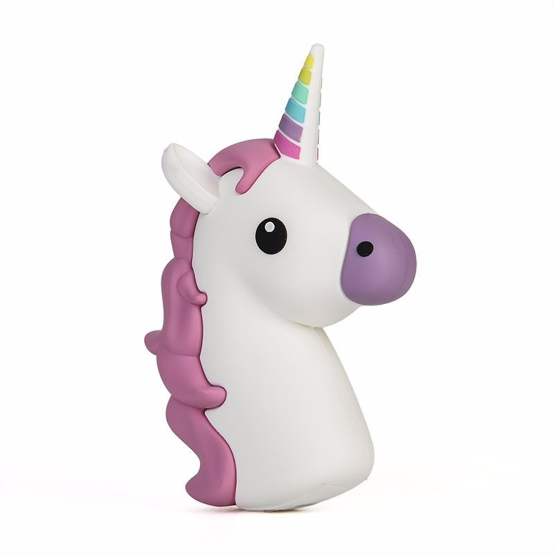 Universal 2600mAh Cartoon Unicorn Power Bank External Emergency Colorful White Horse Power Bank Charger For iPhone Android Phone