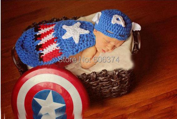 Ручной работы ребенка шляпу с кабо-set капитан америка стиль крючком новорожденных фотографии реквизит костюм шапочки
