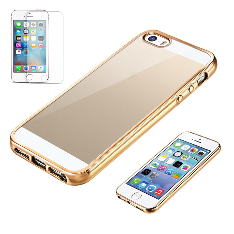 Malloom 2016 Top Sale Slim Shock-Absorption Clear TPU Plating Hard Case Cover for iPhone 5 5s SE IOS Android Cell phones cases(China (Mainland))