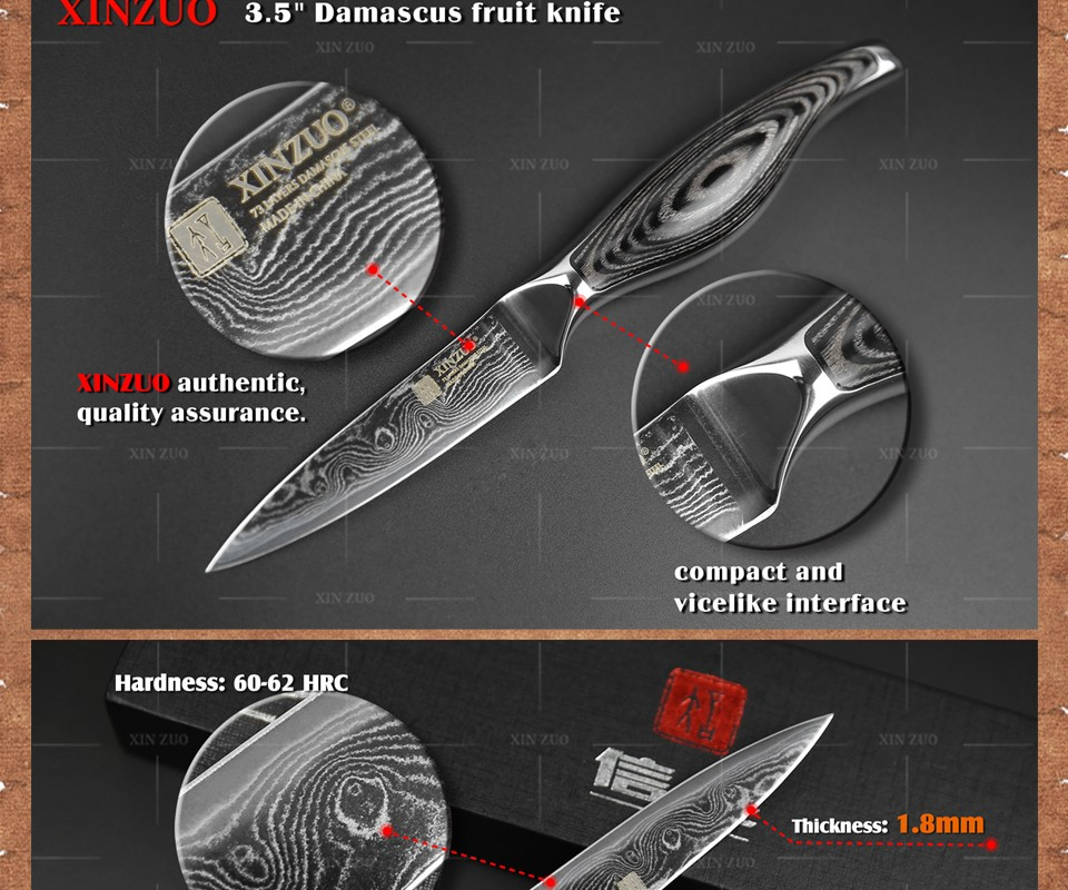 "Buy 3.5"" inches paring knife kitchen knife VG-10 Damascus steel kitchen knives  fruit knife with wood steel handle FOR FREE SHIPPING cheap"