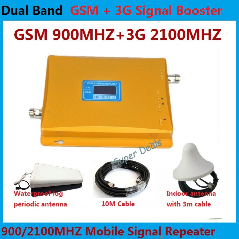 GSM 3G Repeater Dual Band GSM 900 MHz 2100 MHz W-CDMA UMTS Repetidor 3G Antenna Signal Amplifier 2G 3G Cell Phone Booster Sets(China (Mainland))