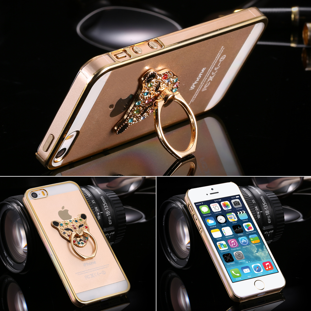 Fashion Crystal Ultra Thin Plating PC Back Cover for Apple iPhone 5 5S 5G Glitter Diamond Metal Ring KickStand Protective Case(China (Mainland))