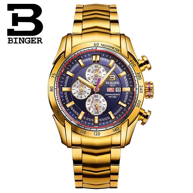 BINGER Switzerland watches men luxury brand waterproof luminous steel belts multifunction purple gold relogio masculino<br><br>Aliexpress