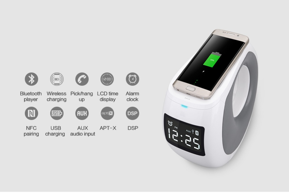Nillkin multi-function powered Wireless charger bluetooth speaker with pick phone/hang up/alarm clock/dsp/aux/nfc/usb charging(China (Mainland))