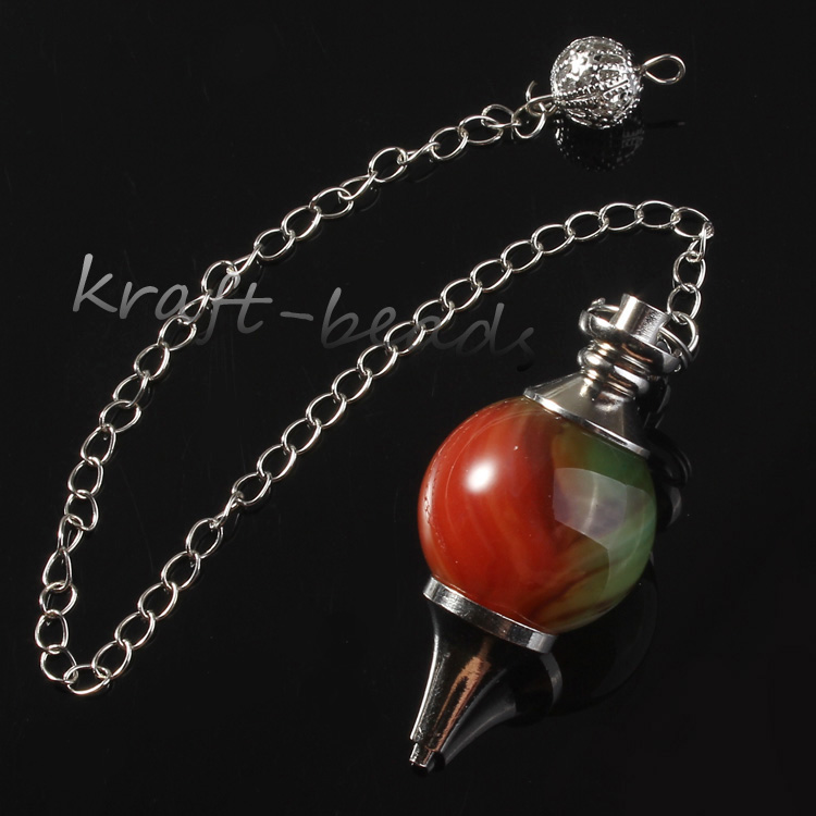 wholesale 10Pcs Charm Silver Plated Chain Peacock Agate Stone Chakra Healing Point  Dowsing Pendulum Pendant Jewelry