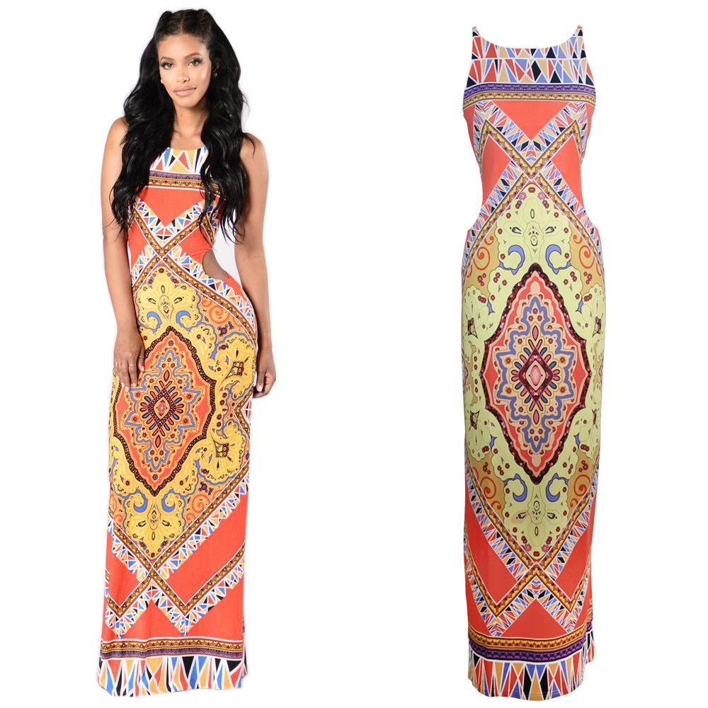 Plus Size Vintage Sexy African Dresses for Women African Clothing Bazin Rich 2017 Fashion Hollow Out Sleeveless Maxi Dress Long(China (Mainland))