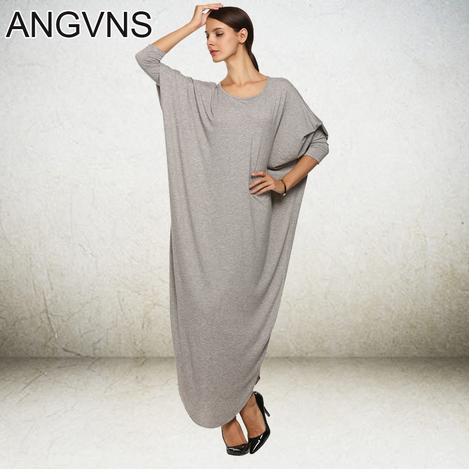 Angvns Women Casual Maxi Dress Fashion Super Big Long Batwing Sleeve Loose 2017 Spring Autumn Winter Dress Vestidos M/L/XL/XXL