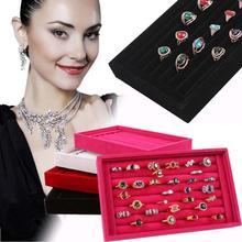 New Design 1 PC Full Velvet Ring Box Jewelry Box Earrings Ring Jewelry Box Tray Box free shipping(China (Mainland))
