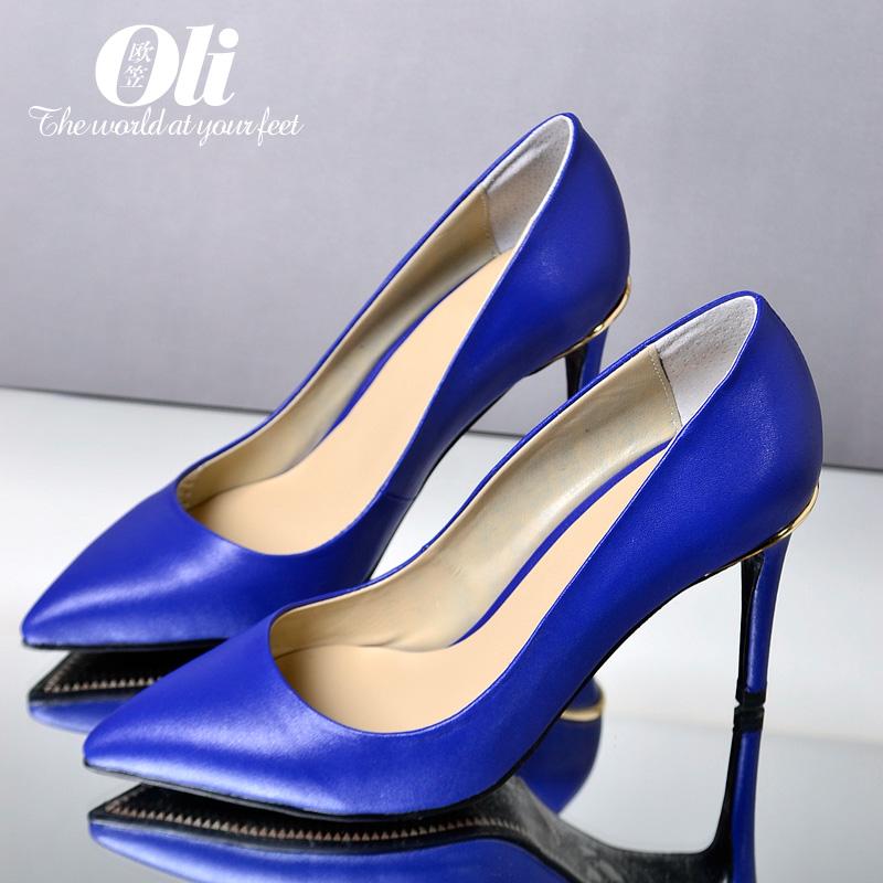 Azul dedo apontado sapatos de salto fino OL de conforto de salto alto mulheres bombas de mão champagne 40 41(China (Mainland))