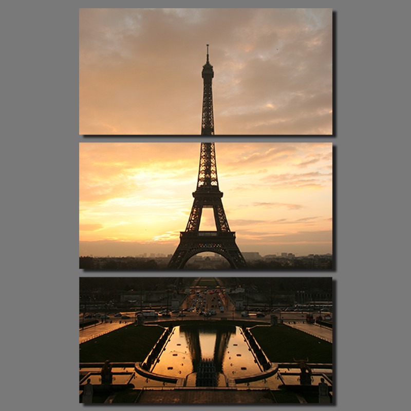 3 pcs sun Eiffel Tower Modern city Paris picture decoration canvas universe painting wall Art living room home decor unframed(China (Mainland))