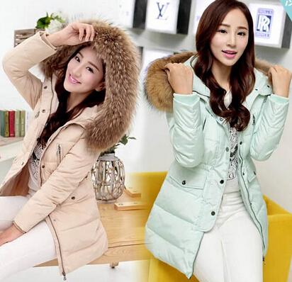 2015 new fashion women winter big fur collar hood down over coats casual cute white duck down long parka jackets outerwear(China (Mainland))
