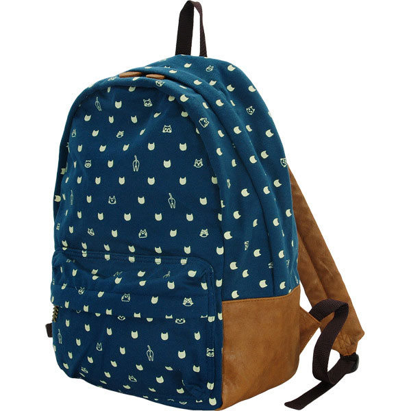 Fashion-Casual-Thick-Knitted-Cotton-Cat-Face-Dot-Pattern-Backpack-School-Bag-...