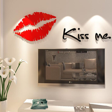 Buy Mini Red Lips Kiss Me 3D sticker Wall Sticker Art Home Decor Poster Waterproof acrylic crystal three-dimensional wall sticker for $7.99 in AliExpress store