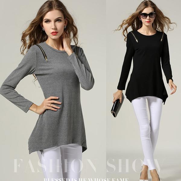 Plus Size Women Clothing m-5xl Zipper Detailed Long Sleeve Asym Basic Tops T-Shirt #SN1151(China (Mainland))