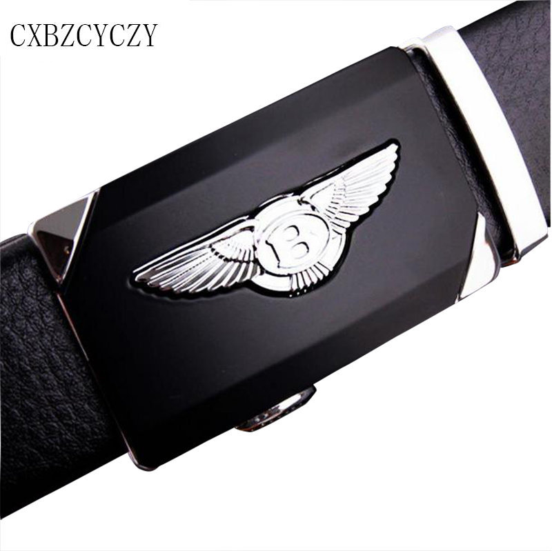 2017 Style Fashion Men's leather Belt Strap Designer Belts Automatic Personality Silver Buckle Mens Belts Luxury Boss Business(China (Mainland))