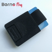 BERNO FLY Minimalist Slim Wallet Cow Leather and Elastic cloth Credit ID Card Holder Small Cash Wallet Coins Purse Key Bag(China (Mainland))