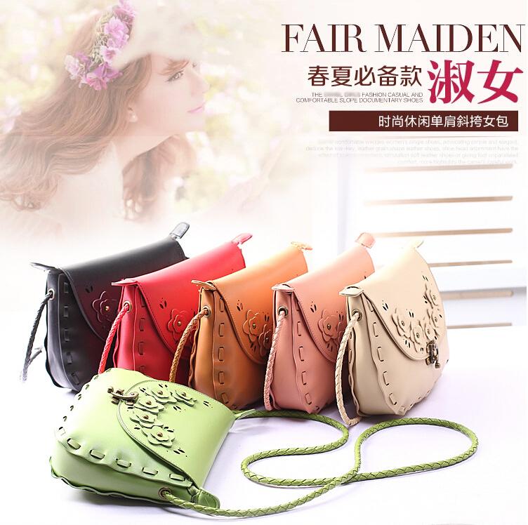 10 Colors New Japan Weaving vintage crossbody bags women leather handbags female purse women Messenger Bag(China (Mainland))