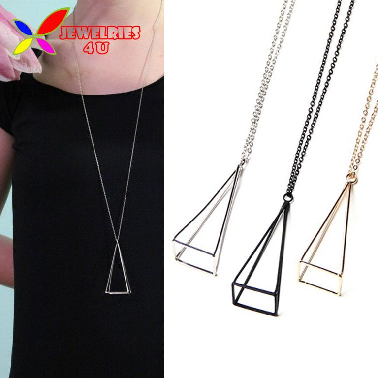 2016 New Fashion Gold Silver Black Cube Triangle Long False Collar For Women Necklaces & Pendants accessories collar bijoux(China (Mainland))