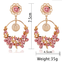 Earrings For Women Summer Style Brincos Romantic Boho Chic Carved Turkish Coins Drop& Polymer Flower Brazil Chandelier Earring(China (Mainland))