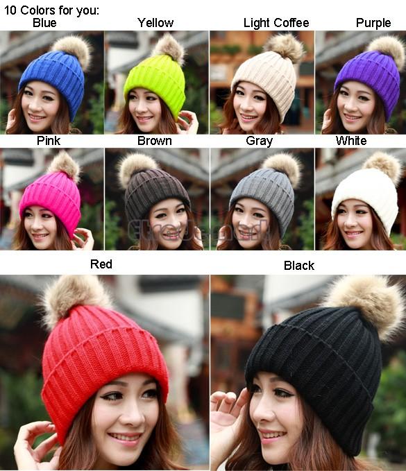 Classic Tight Knitted Fur Hat Women Cap Winter Beanie Headgear Headdress Head Warmer Top Quality 12(China (Mainland))