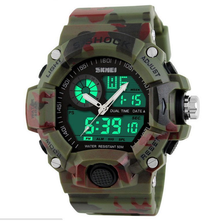Гаджет  2014 Men Sports Watches Military Watch SKMEI Brand LED Digital &Analog 5ATM Fashion Outdoor Dive Silicone Wristwatches None Часы