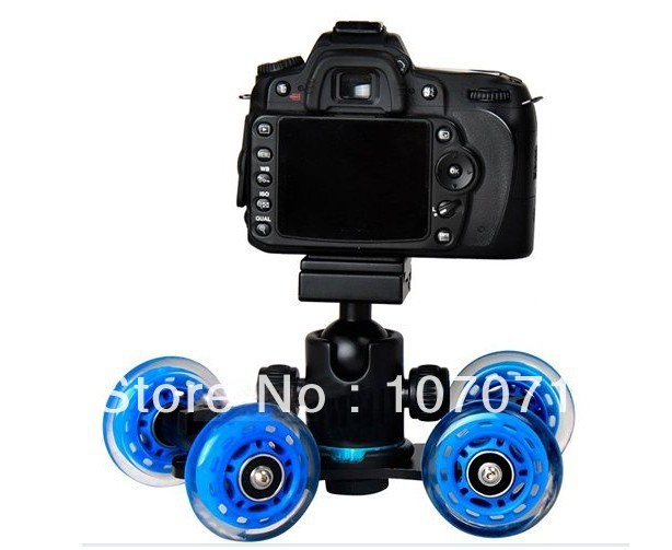 Table Top Compact Dolly Kit Skater Wheel Truck Photo Studio Accessories for DSLR Camera Video Monitor(China (Mainland))
