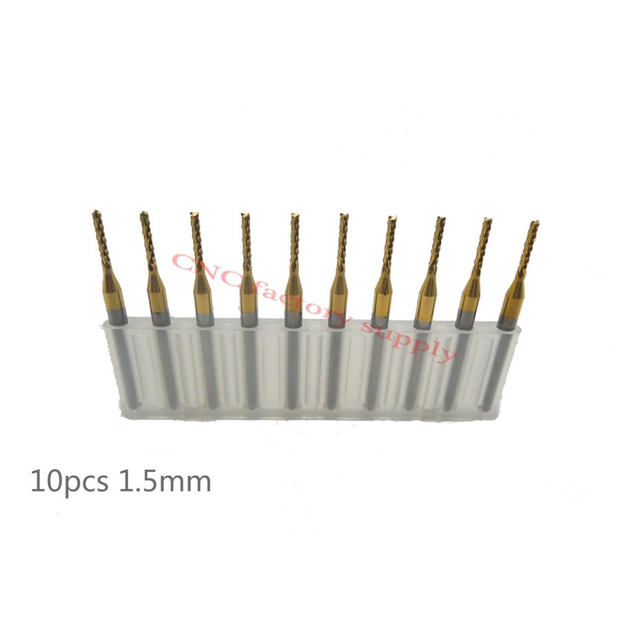 Free shipping High quality 10pcs / lot Titanium Nitride Coated Carbide PCB CNC milling cutter 1.5mm(China (Mainland))
