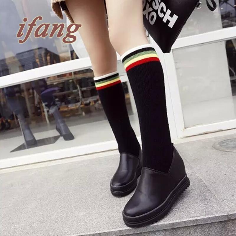 Здесь можно купить   Winter Boots Rainbow Casual Shoes Thick Crust Wool Waterproof Shoes Woman Waterproof Shoes Woman Christmas Snow Boots  Обувь