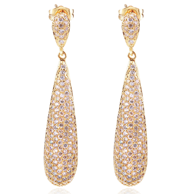 2015 new arrivals long styles cocktail earrings full setting stones 18k gold plated valentine gift free shipping()
