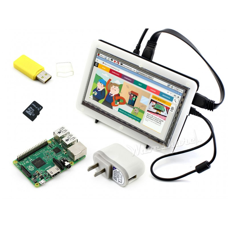 RPi2 B Package F including RPi 2 Model B+RPi 7 inch 1024x600 HDMI LCD Display+ Bicolor case + 8GB Micro SD card + Power Adapter<br><br>Aliexpress