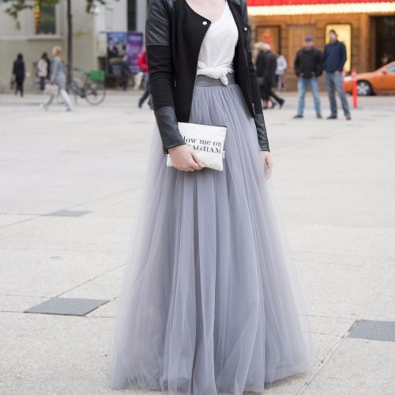 Top Fashion Gray Tulle Skirt A Line Floor Length Maxi Skirt Street Style Long Skirts Women Hot ...