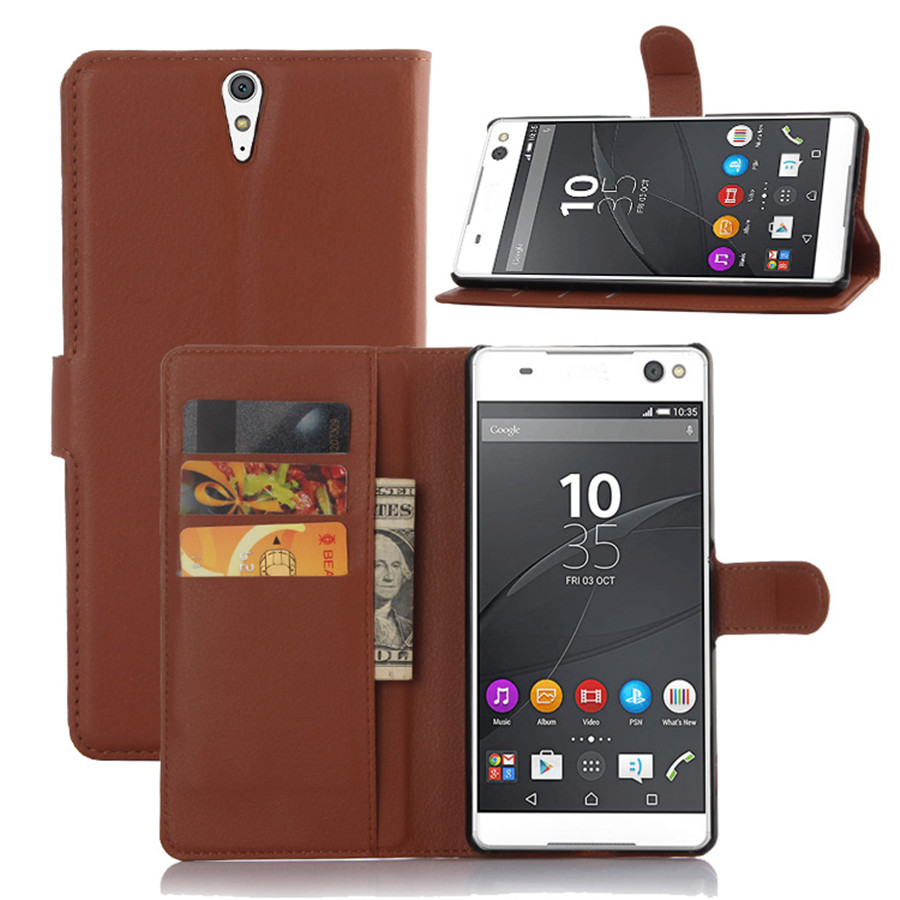 C5 Case Luxury Lychee Print PU Leather Case For Sony Xperia C5 Ultra Flip Stand Wallet Phone Shell Back Cover With Card Holder(China (Mainland))
