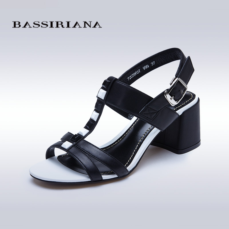 New 2017 shoes woman high heels genuine leather sandals for woman square heel 35-40 Free shipping BASSIRIANA