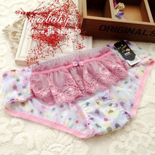 2015 Korean Sweet Lolita Lace Underwear Panties Bow Low-waist 15 Colors Lolita Briefs for Women and Girl Y136
