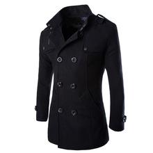 2015 Fashion Winter Mens Jackets And Coats Duffle Coat Stylish British style Single Breasted Mens Pea Coat Wool Trench Coat(China (Mainland))