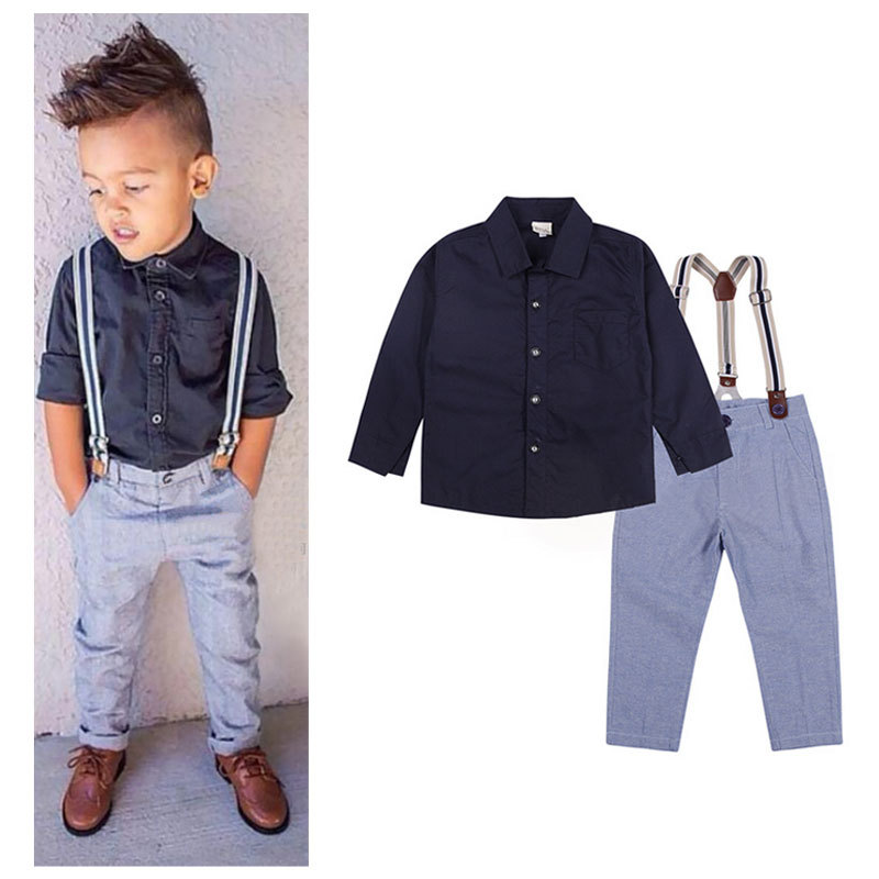 New Gentle Baby Boy T-shirt+Suspender Trousers Overall Suits for Little Boys Summer Clothing Sets Children Kids Clothes CF142(China (Mainland))