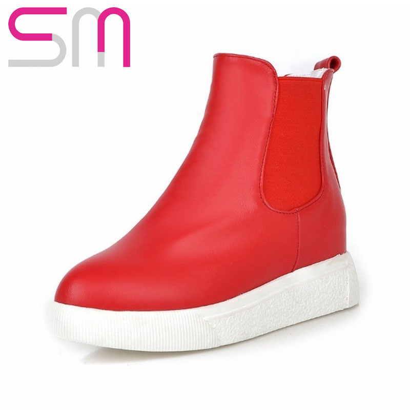 2015 Brand Elastic Band Slip On Ankle Boots Leisure Thick Sole Women Boots Consize Outdoor Short Boots for Autumn Winter Boots