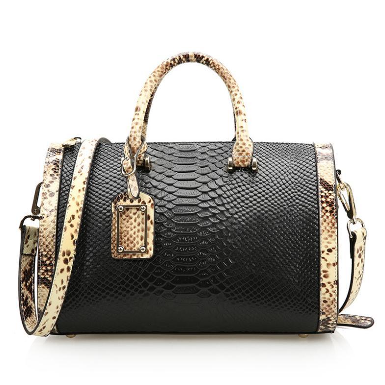 2016 boston women bags genuine leather Pillow handbags crocodile women's Messenger hit color bag