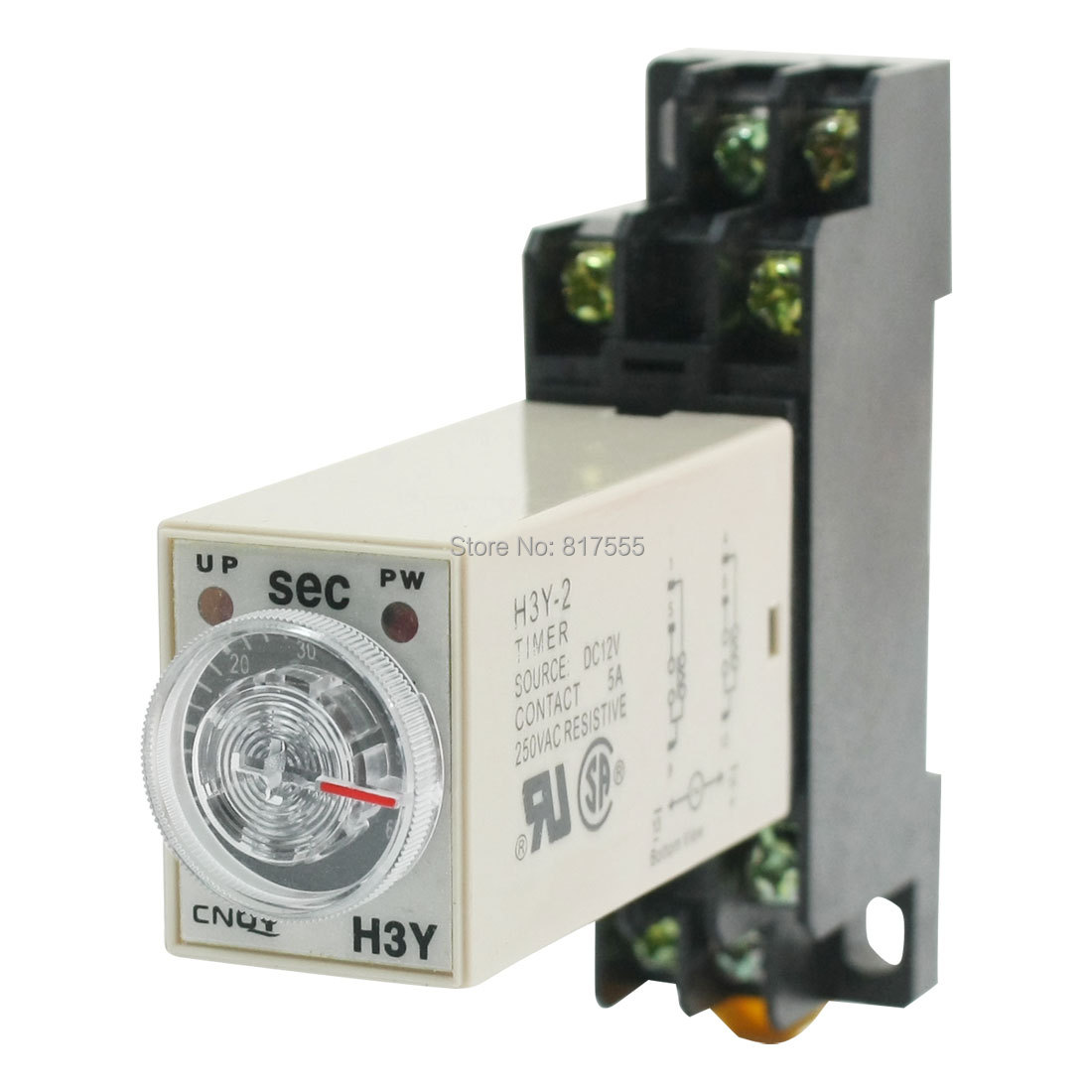 Knob Control 12VDC 8P DPDT 0-60 Seconds Timer Time Delay Relay w Socket Discount 50(China (Mainland))