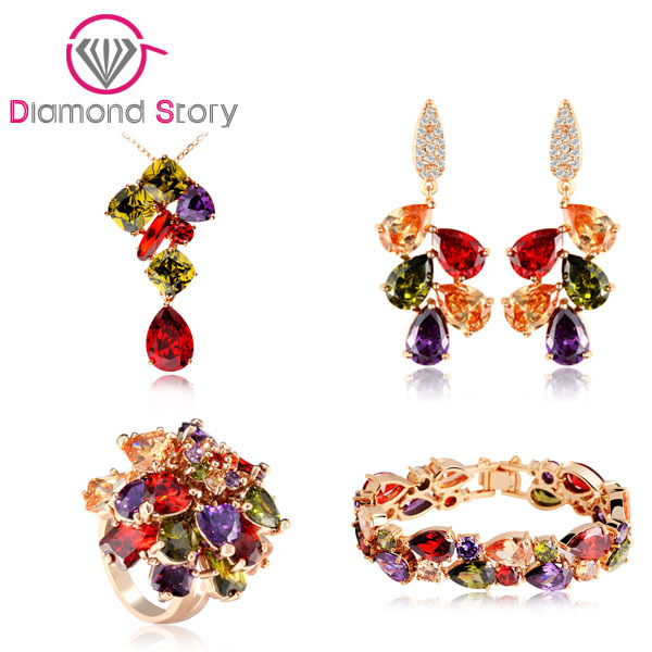 Hot Sale Hing Quality 4 Kinds Mona Lisa Jewelry Set Multicolor Cubic Zircon 18K Champagne Gold Plated for Women Wedding Jewelry(China (Mainland))