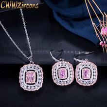 CWWZircons Neue Designer Schmuck Platz Rosa Zirkonia Stein Drop Anhänger Halskette Ohrringe Mode Damen CZ Schmuck Sets T096(China)